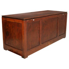Midcentury Large Trunk for Furs Shelter in Solid Wood of Pine Polished to Wax