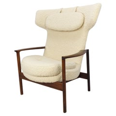 Mid Century Large Wing Back Lounge Chair by Ib Kofod-Larsen, Denmark 1950's
