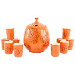 Midcentury Lava Glaze Ceramic Drink Service