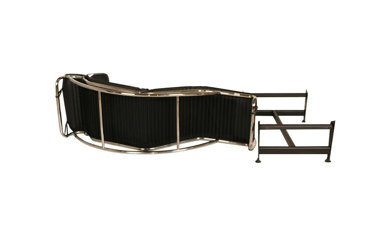 Metal Midcentury Le Corbusier LC4 Style Leather Chaise Lounge Daybed For Sale