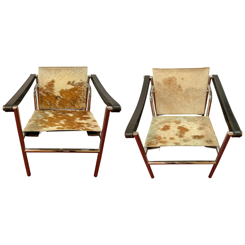 Midcentury Le Corbusier Style Tilt Back Chrome Leather Strap Armchairs, a Pair