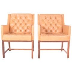 Midcentury Leather and Teak Armchairs by Karl-Erik Ekselius for JOC Mobler