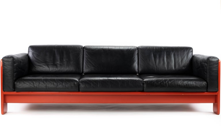 Mid-20th Century Midcentury Leather and Wood Bastiano Three-Seat Sofa by Afra & Tobia for Gavina For Sale