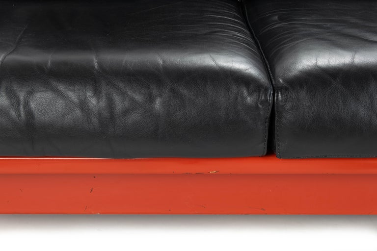 Midcentury Leather and Wood Bastiano Three-Seat Sofa by Afra & Tobia for Gavina For Sale 2