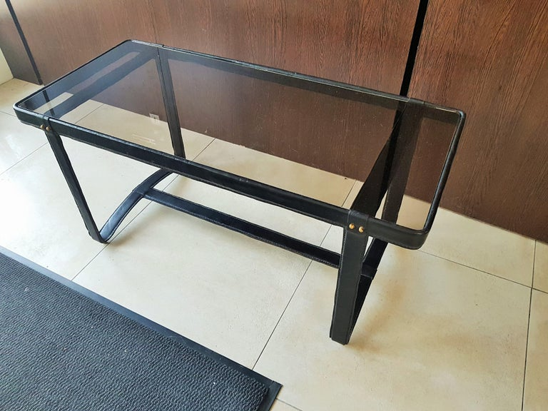 Midcentury Leather Coffee Table by Jacques Adnet, France, 1950 For Sale 3