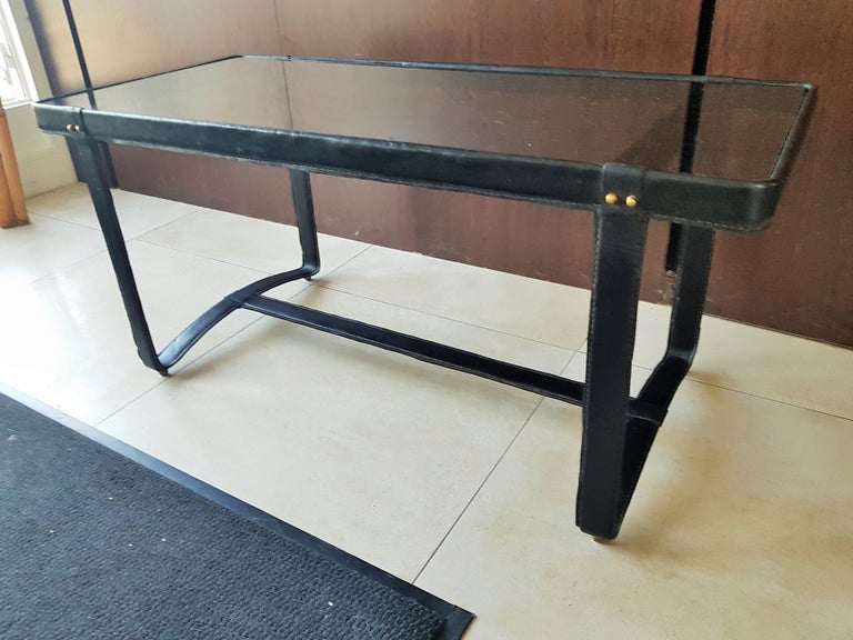 Midcentury Leather Coffee Table by Jacques Adnet, France, 1950 For Sale 4