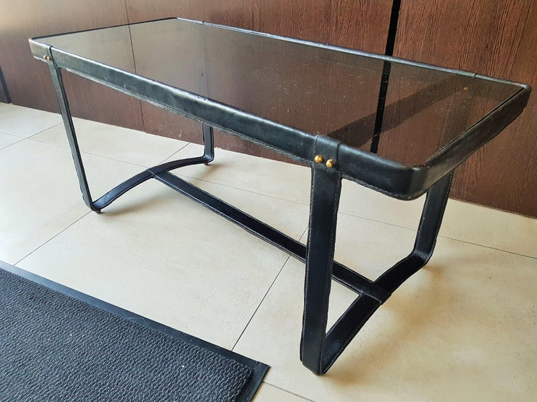 Midcentury Leather Coffee Table by Jacques Adnet, France, 1950 For Sale 5