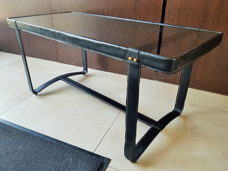 Midcentury Leather Coffee Table by Jacques Adnet, France, 1950 For Sale 6