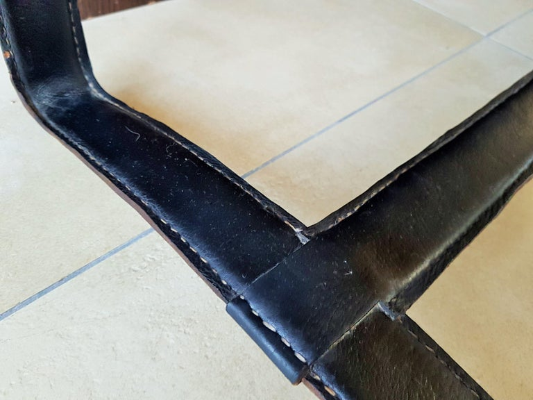 Midcentury Leather Coffee Table by Jacques Adnet, France, 1950 For Sale 10