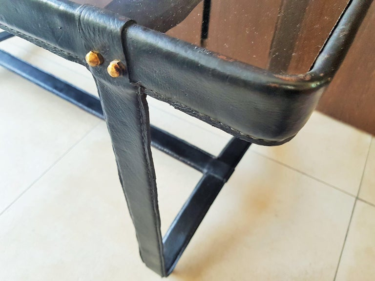 French Midcentury Leather Coffee Table by Jacques Adnet, France, 1950 For Sale