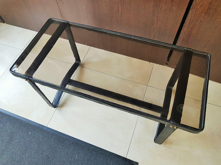 Metal Midcentury Leather Coffee Table by Jacques Adnet, France, 1950 For Sale