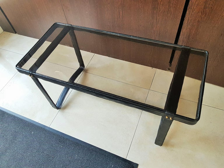 Midcentury Leather Coffee Table by Jacques Adnet, France, 1950 For Sale 1
