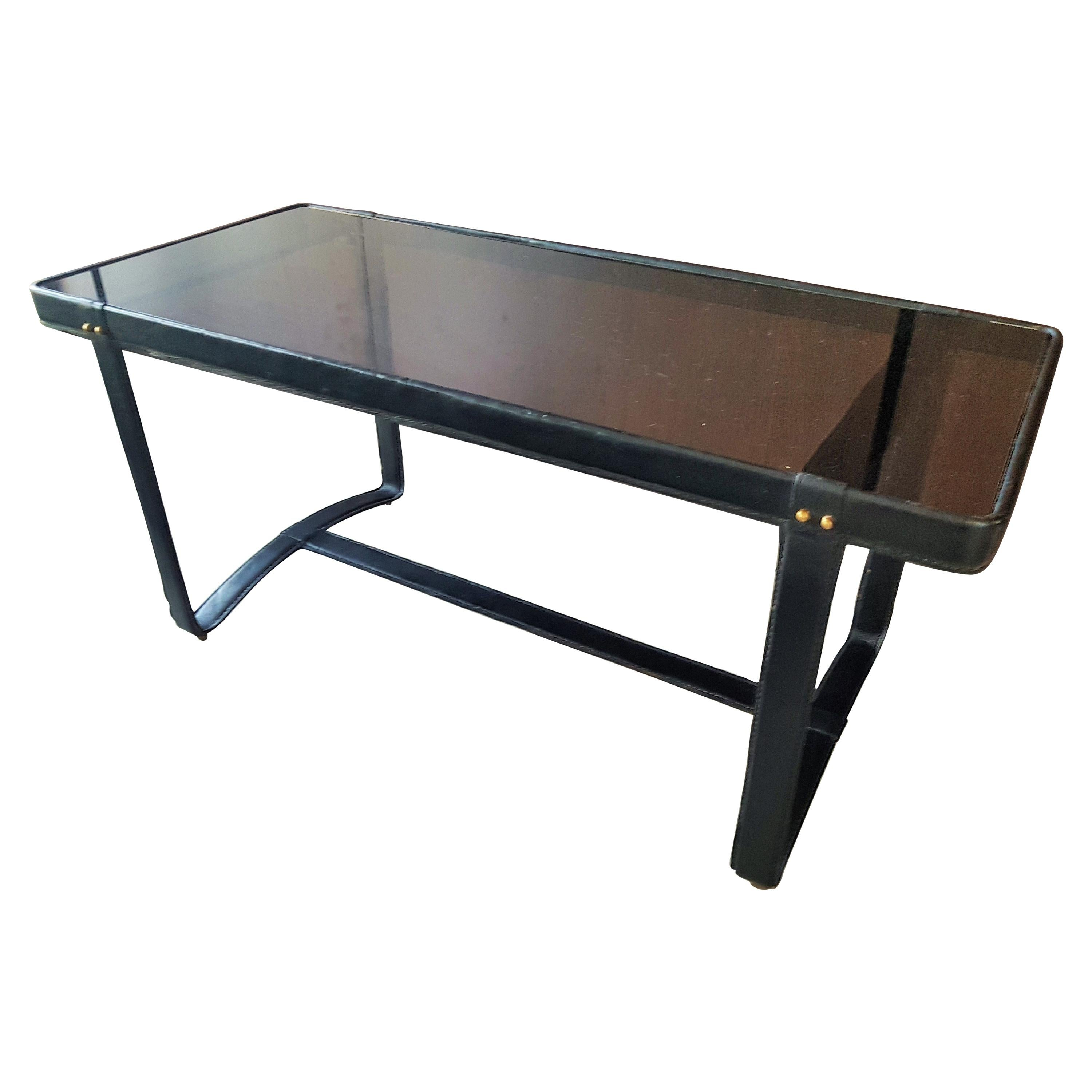 Midcentury Leather Coffee Table by Jacques Adnet, France, 1950