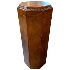 Midcentury Leather Hex Form Pedestal