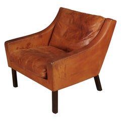 Midcentury Leather Lounge Chair from Denmark, circa 1970