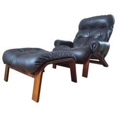 Midcentury Leather Lounge Chair RyBo Rykken, Oddvin Rykken, Ottoman, 1970s