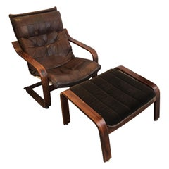 Mid-Century Leather Lounge Chair with Matching Ottoman