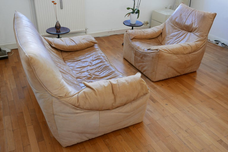 Midcentury Leather Seating Group 'The Rock' by Gerard van den Berg for Montis For Sale 2