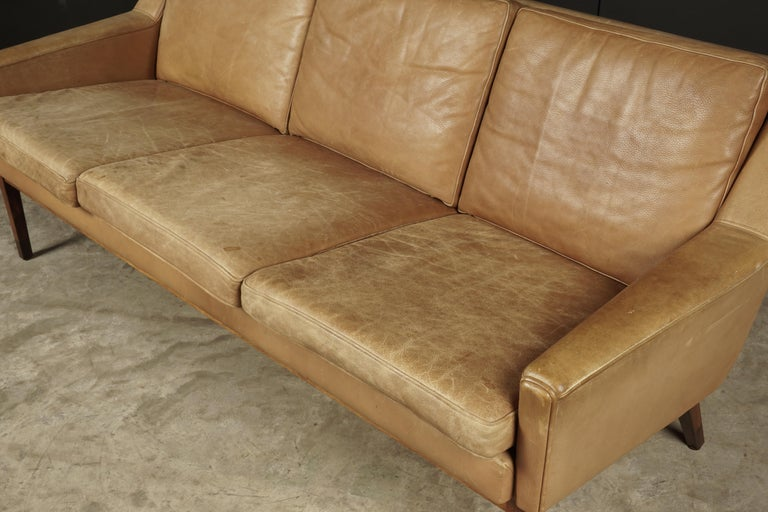 European Midcentury Leather Sofa from Denmark, circa 1970 For Sale