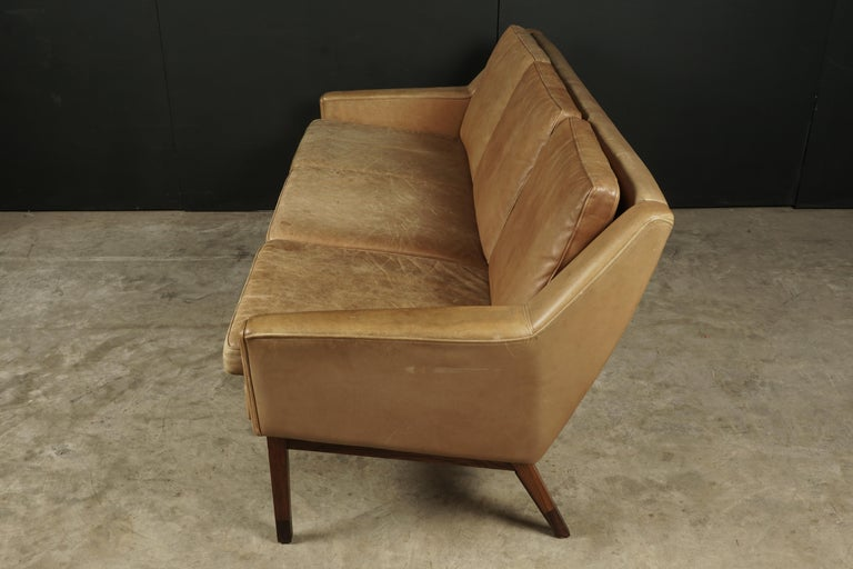 Late 20th Century Midcentury Leather Sofa from Denmark, circa 1970 For Sale