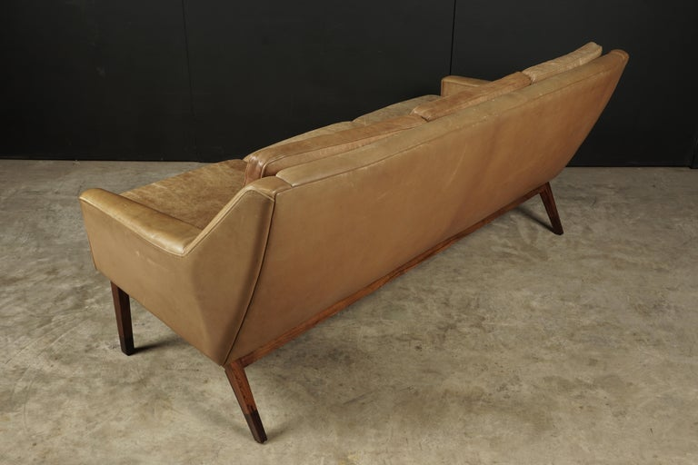 Midcentury Leather Sofa from Denmark, circa 1970 For Sale 1
