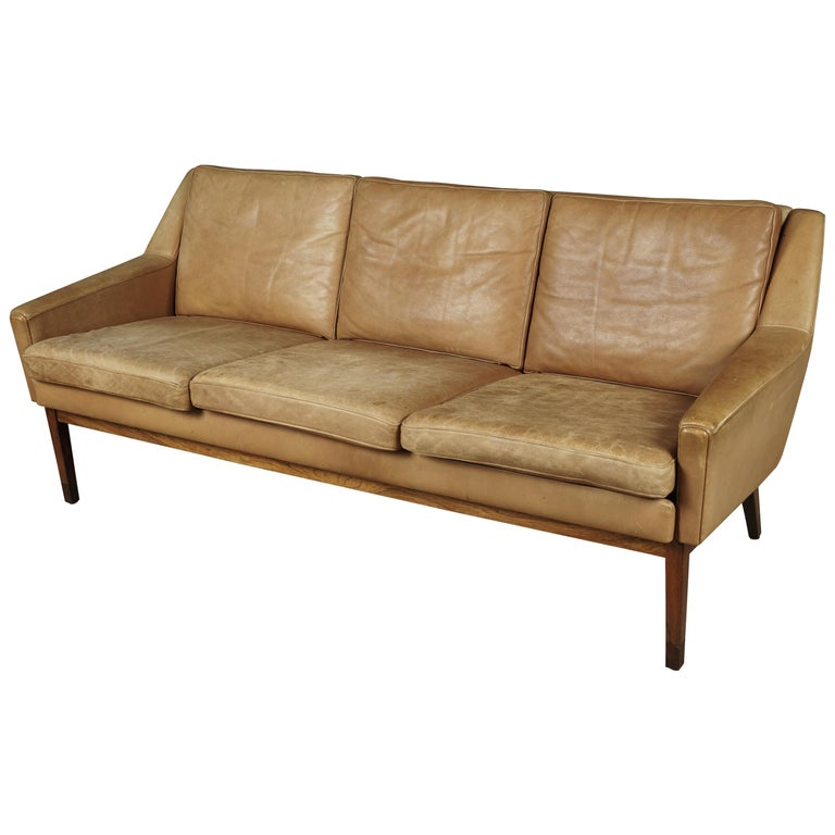 Midcentury Leather Sofa from Denmark, circa 1970 For Sale