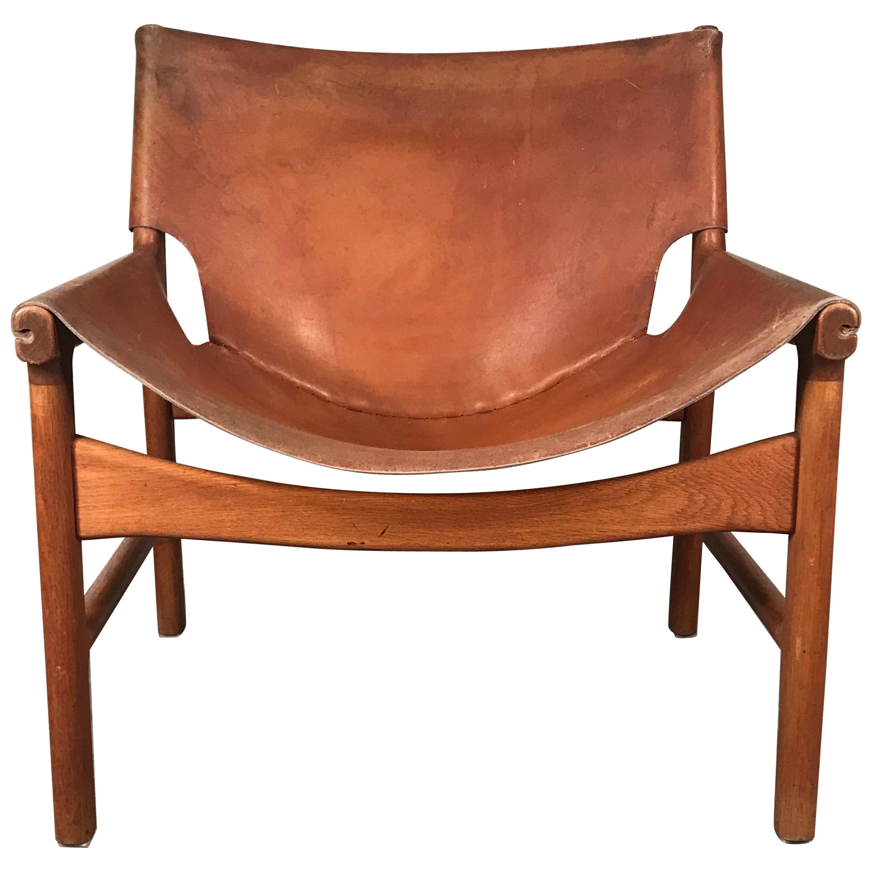 Midcentury Leather Swing Chair by Illum Wikkelso, Denmark, 1950s
