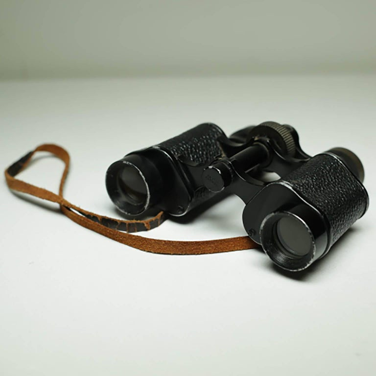 French Midcentury Leather Wrapped Binoculars, circa 1950s For Sale