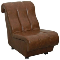 Midcentury Leatherette Brown Armchair /2 St, 1960s