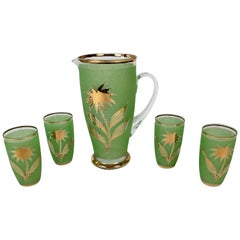 Midcentury Lemonade Set in Jade Green Glass