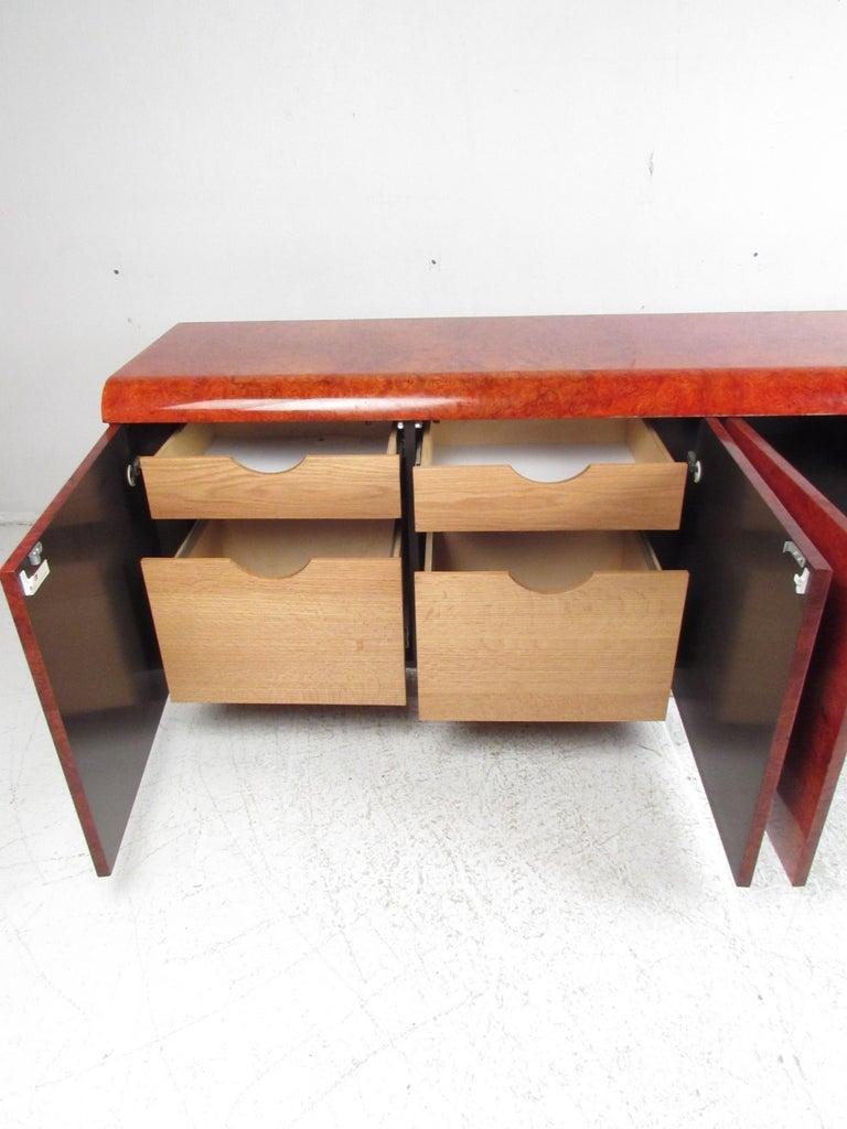 Mid-20th Century Midcentury Leon Rosen Pace Burl wood Credenza For Sale