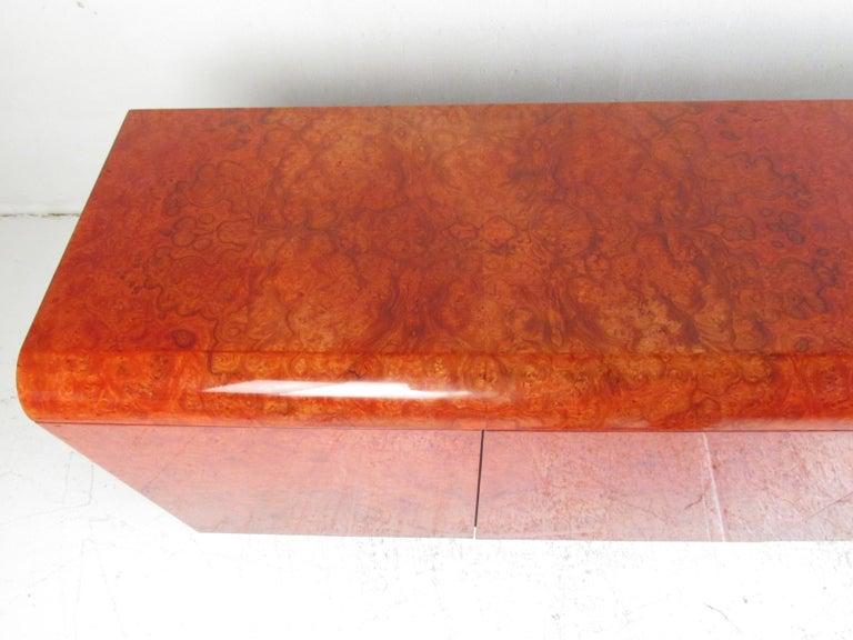 Midcentury Leon Rosen Pace Burl wood Credenza For Sale 1