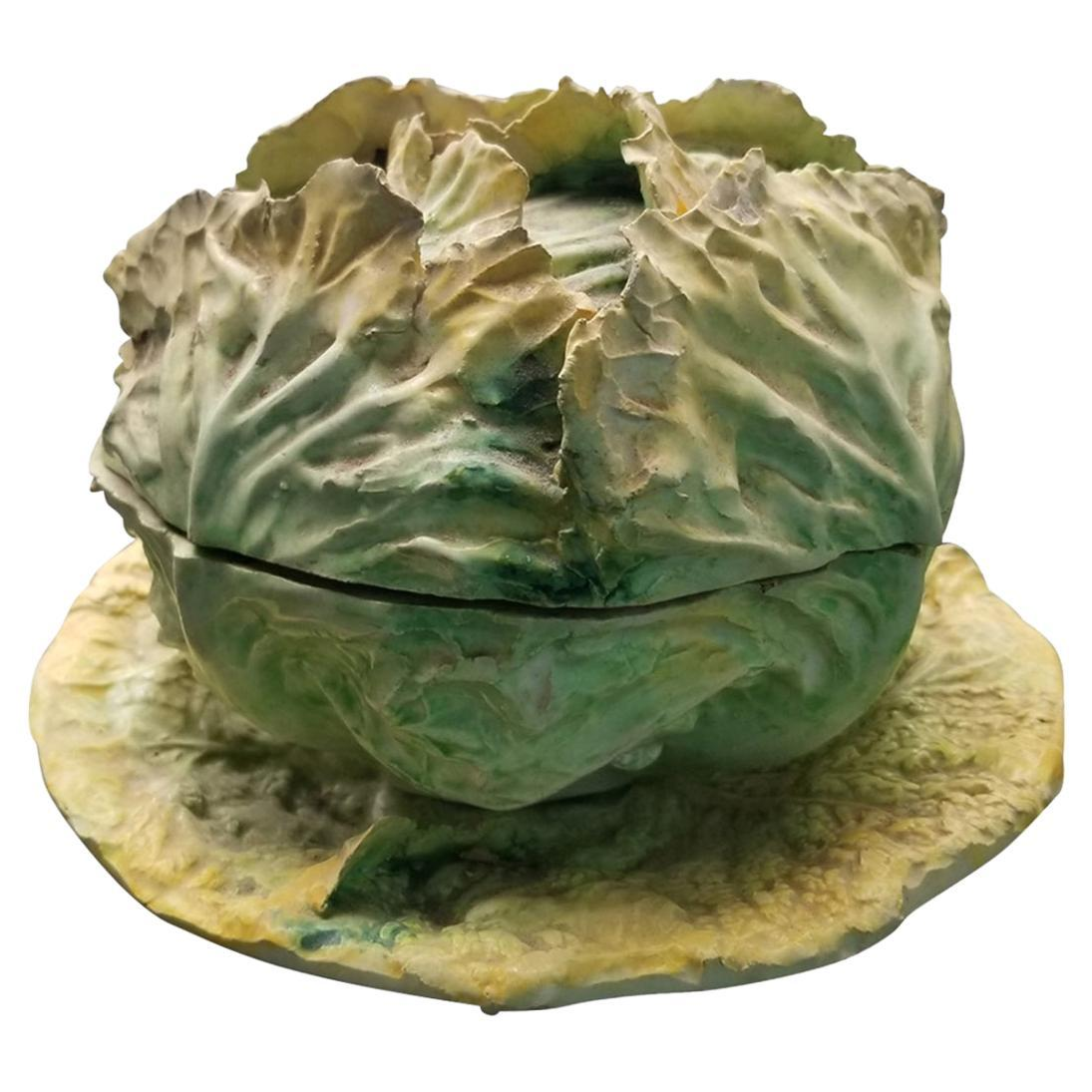Mid Century Lettuce Tureen with Underplate