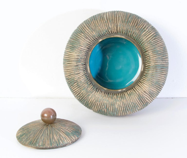 Mid Century Lidded Bowl by Ceramiche Batignani, Italy For Sale 1