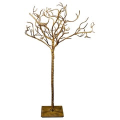 Midcentury Life-Sized Gilt Iron Tree with Nest