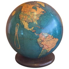 Mid-Century Lighted Glass Globe on Wood Stand by Replogle Globe