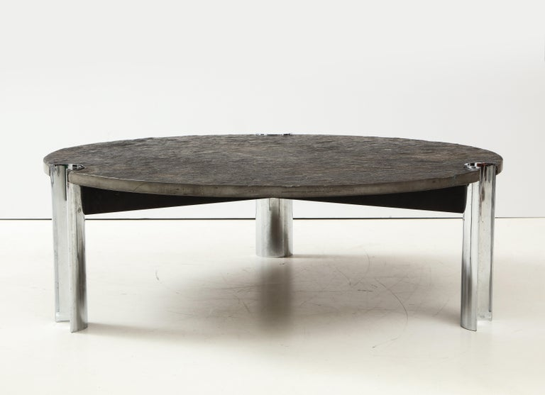 Mid-Century Limestone and Chrome Coffee Table with Fossils, Brazil, c. 1970s For Sale 6
