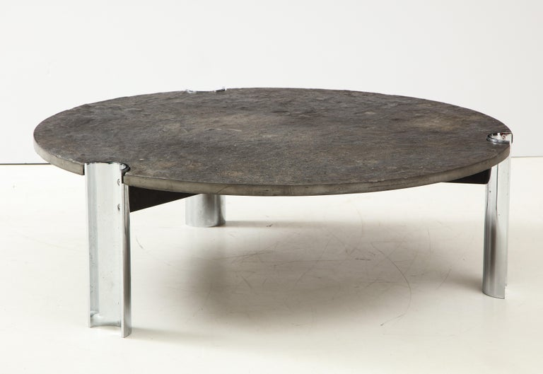Mid-Century Limestone and Chrome Coffee Table with Fossils, Brazil, c. 1970s For Sale 11