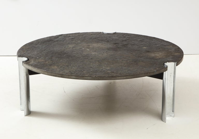 Late 20th Century Mid-Century Limestone and Chrome Coffee Table with Fossils, Brazil, c. 1970s For Sale