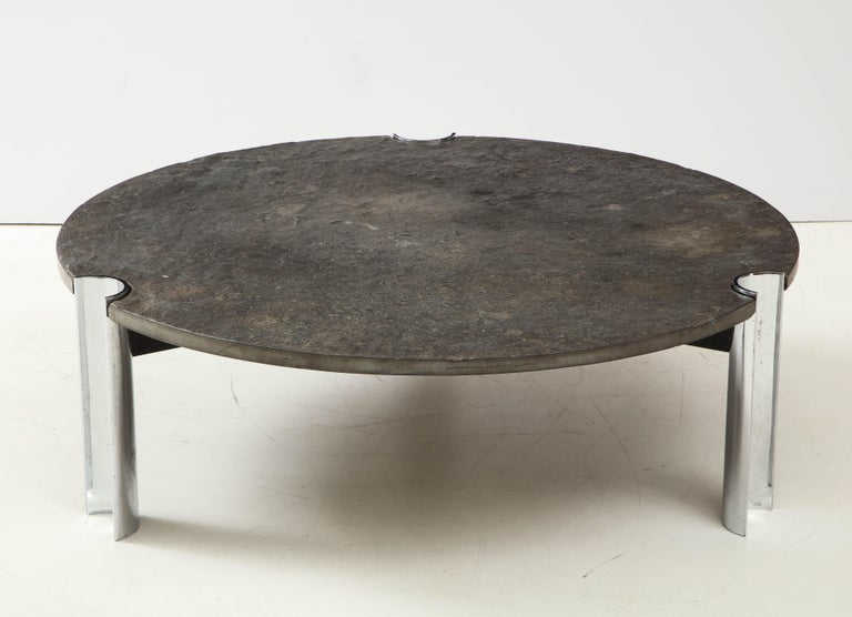 Mid-Century Limestone and Chrome Coffee Table with Fossils, Brazil, c. 1970s For Sale 4