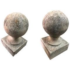 Midcentury Limestone Finials