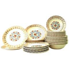 "Mid-Century Limoges USA Ceramic and Gold Gilt Dinnerware ""Lyric"" Set of 25"