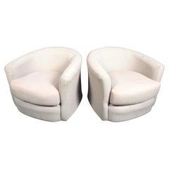 Mid-Century Linen Swivel Tub Chairs