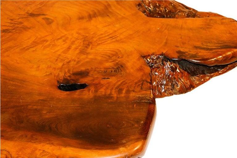 Midcentury Live Edge Wood Tree Slab Coffee Table For Sale 1