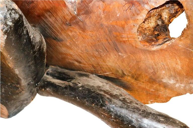 Midcentury Live Edge Wood Tree Slab Coffee Table For Sale 3