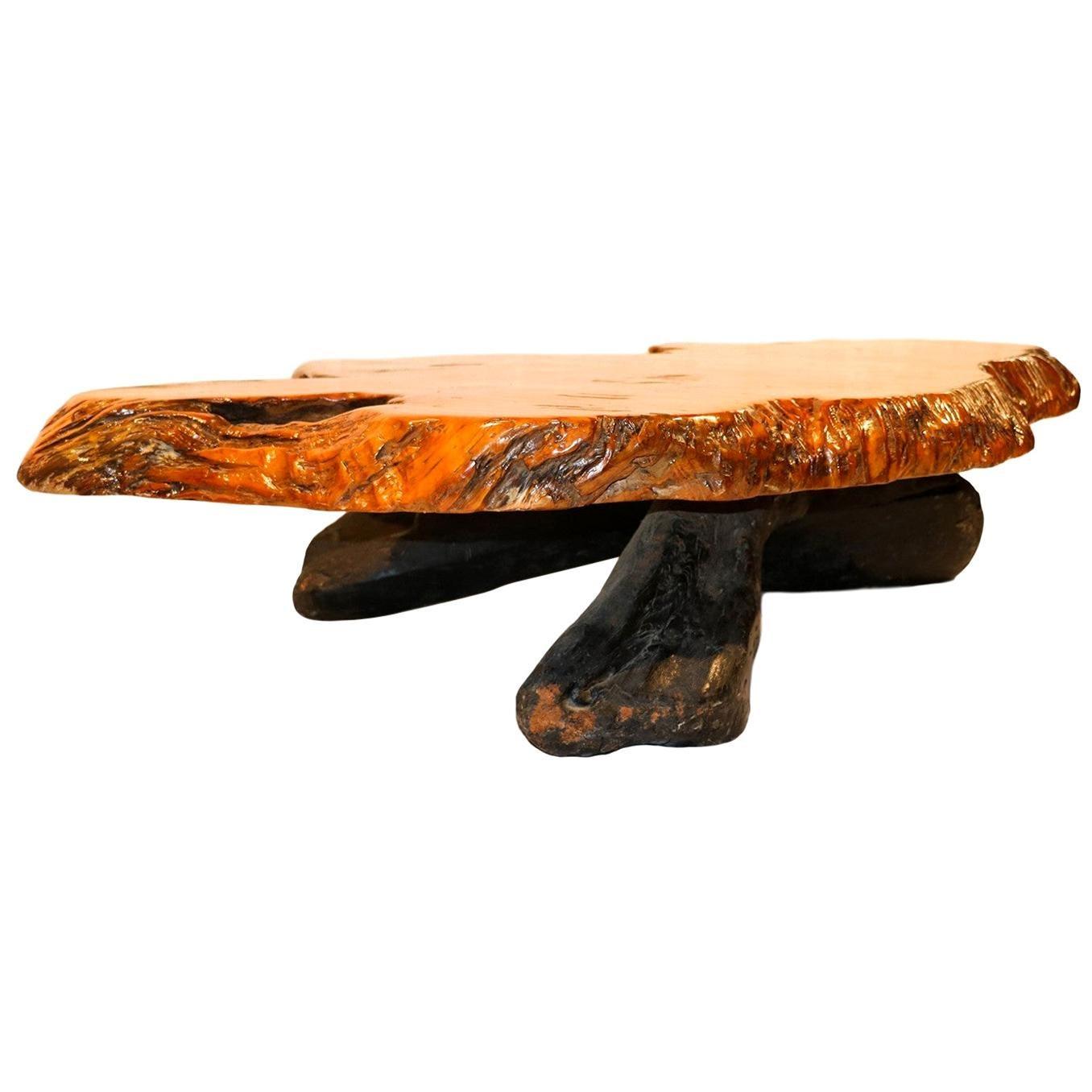 Midcentury Live Edge Wood Tree Slab Coffee Table