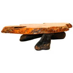 Midcentury Live Edge Wood Tree Slab Coffee Table