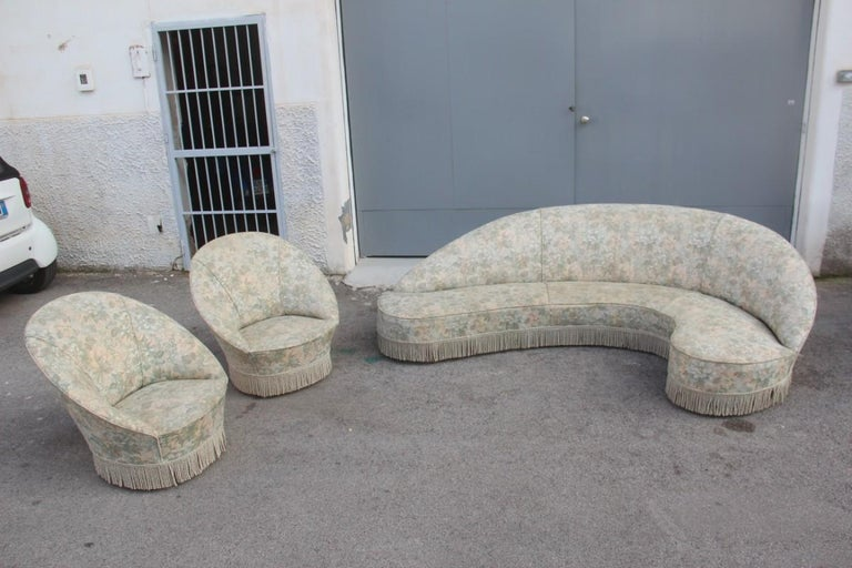 Mid-Century Living Room Sets  Italian Design Curved Sofa Boomerang  For Sale 4