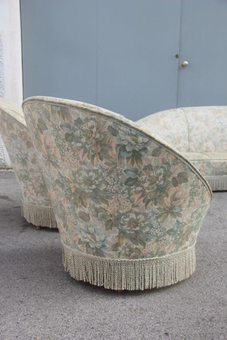 Mid-Century Living Room Sets  Italian Design Curved Sofa Boomerang  For Sale 5