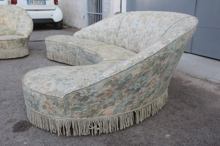 Mid-Century Living Room Sets  Italian Design Curved Sofa Boomerang  For Sale 7